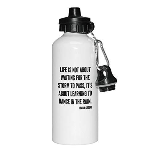 aqf527907 Black Storm...Learning to Dance Under The Rain - Botella de agua deportiva de aluminio, color blanco