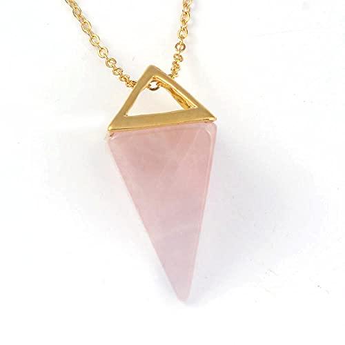 Gemme naturelle Pierre Pyramide Pendule Pendentif Cristal Quartz Onyx Colliers Suspension pour Femmes Hommes-Rose Quartz OR