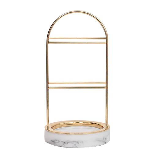 Tuneway Exquisite Gold Jewelry Display with Marble Stand Minimalist Chic Ins Metal Jewelry Rack Design Models Earrings Bracelet Earring Holder