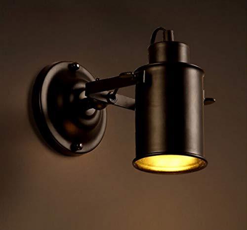 ZIXUAL lámpara de paredLámpara de Pared Ajustable de la antigüedad del Loft Industrial del Vintage/lámpara ahuecada llevada del Techo/proyector Moderno/proyector de la Noche, Pantalla Negra del HIE