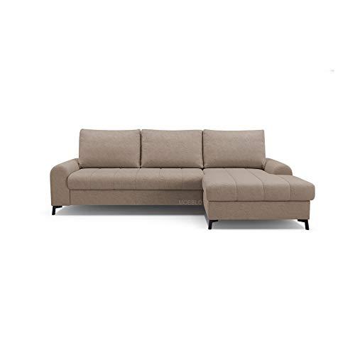 mb-moebel Ecksofa mit Schlaffunktion Eckcouch mit Bettkasten Sofa Couch L-Form Polsterecke Delice (Cappuccino, Ecksofa Rechts)