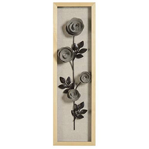 Desktop-Skulptur Pflanze Blume Rahmen Schmiedeeisen Anhänger Wanddekoration Wohnzimmer Hintergrund Metall Übergroße Skulptur 3d Stereo 20,2 * 70,2 * 6 cm (Color : Gray)