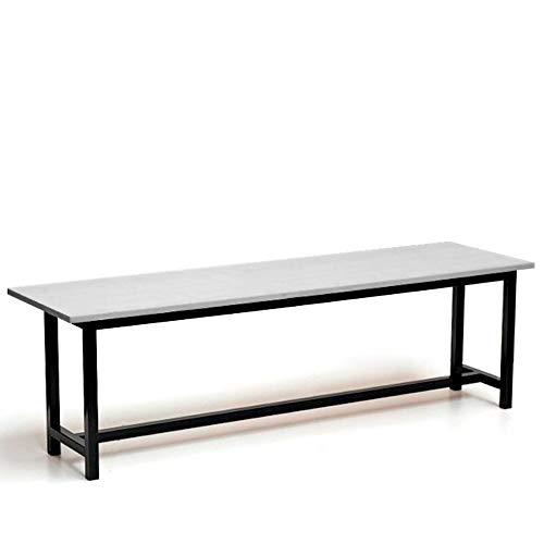 Banco vestuario Estructura en Acero, asiento fabricado en melamina y color blanco, la estructura es de acero pintado en epoxi negro, perfecto para vestuarios por su resistencia y sencillez (Abedul)