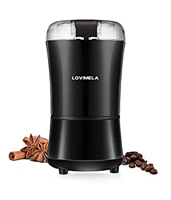 Electric Coffee Grinder, Coffee Bean Blade Grinders, Stainless Steel Blade, Small & Portable & Compact for Spices, Pepper, Herbs, Nuts, Seeds, Grains (Cleaning Brush Included)