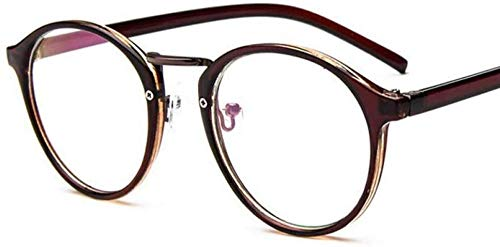 ZYIZEE Gafas de Sol Gafas de Sol Mujer Redondo Plat Espejo Vintage Hombres Mujeres Gafas de Sol Transparente Medio Marco Retro Gafas Gafas-C2_Tea