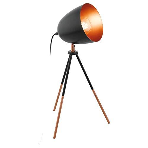 EGLO Chester Dreibein Tischlampe, 1 flammige Vintage Tischleuchte, Nachttischlampe aus Stahl, schwarz, kupfer, Fassung: E27, inkl. Schalter