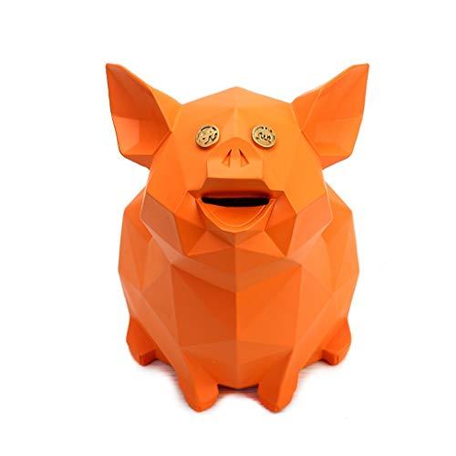 XUANLAN Creativo Geométrico Piglet Patrón Niños Resina Piggy Bank Moneda Piggy Bank Decoración Regalo (Color : Orange)