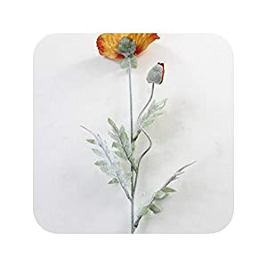 PrettyR Large red Poppy Branch with Flocked Leaves Artificial Flowers Home Living Room Decoration Party Favors Photography Poppies-Orange