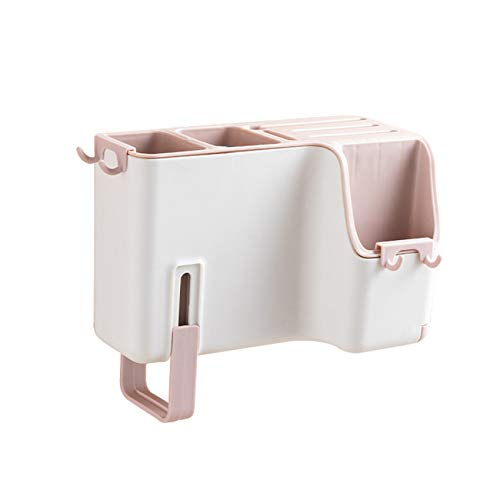 unknow Dreamlulu Haushalts-Hausablaufkäfig Besteck Aufbewahrungsbox Wand-Essstäbchen Rohr Home Küchengeschirr Löffel Aufbewahrungsbox,Rosa