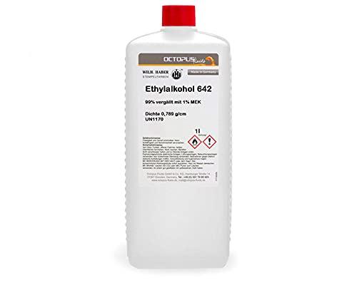 1 litro de etanol 642, 99% desnaturalizado con 1% de MEK, el agente de limpieza completo para la limpieza a fondo, desengrasado y decoloración para el hogar, el hobby y la industria.