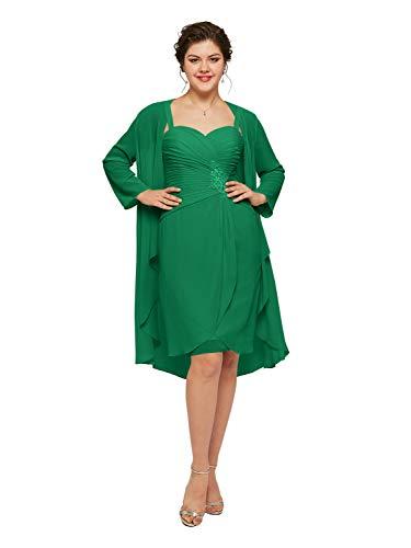 AW BRIDAL Vestido corto de gasa para madre de la novia, 2 piezas, vestido formal de noche con chaqueta Esmeralda 48