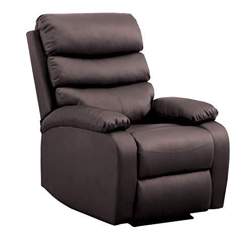 Gridinlux | Sillón Masaje Relax Extra acolchado Marrón Wengué | Reclinable | Función Calor Lumbar | 5 Modos | 8 Motores | Mando de Control | 4 zonas de masaje | Polipiel