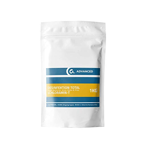 animalone - DESINFEKTION TOTAL Chloramin-T - 1 KG - gegen Giardien, Viren, Bakterien, Pilze Ektoparasiten, Hefen, RHDV-2, H5N8, Geflügelpest und Kaninchenpest