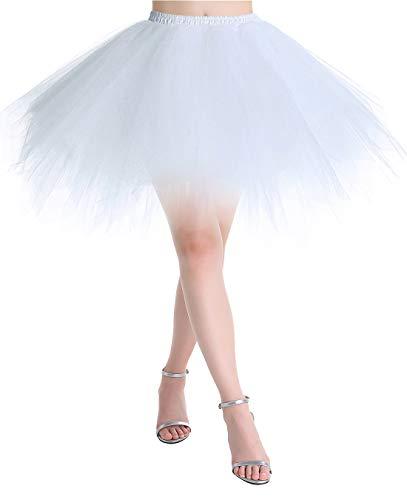 MuaDress Tüllrock Petticoat Kurz Tutu Minirock Retro Unterrock Ballet Tanzkleid Weiß S