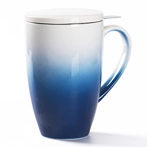 TEANAGOO M018-N Ceramic Tea-Mug with Infuser & Lid, 16 OZ, Darker Blue, Travel Teaware with Filter, Tea Cup Steeper Maker, Brewing Strainer for Loose Leaf Tea, Diffuser One Set Tea Lover Gift