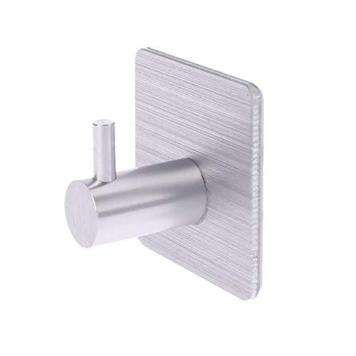 YUAN CHUANG Durable Aluminio Puerta Gancho Autoadhesivo Puerta de Pared Puerta de Pared Ropa Hange Bags Key Rack Cocina Toalla Percha (Color : Silver)