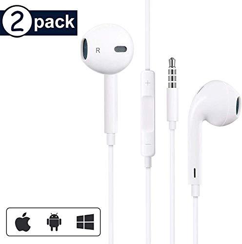 【2 Pack】 Auriculares con Cable Sonido estéreo Auriculares intrauditivos con Auriculares de 3.5 mm Enchufe Micrófono Control de Volumen para Entrenamiento iPhone 6/6s/Huawei/Samsung/Xiaomi/Sony Blanco