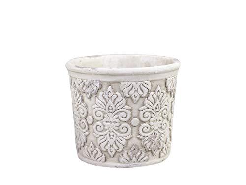 Blumentopf Übertopf Pflanzentopf mit Muster Zement H 12,5 cm antik Creme Shabby Chic Landhaus Vintage