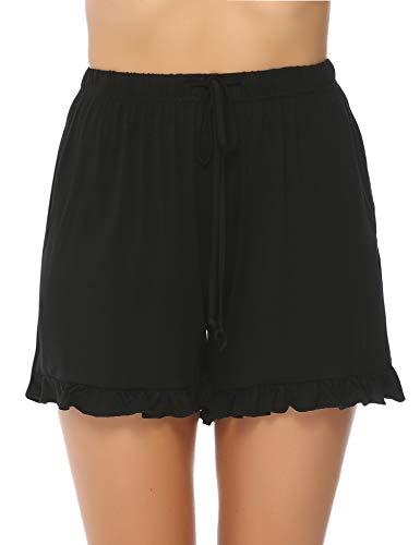 Hawiton Femme été Shorts et Bermudas Pantalon Fluide Casual Ample Elastique d'intérieur Jogging Détente Yoga Pants Grande Taille Pantalon Court Sport Shorts ,B- Noir,XL