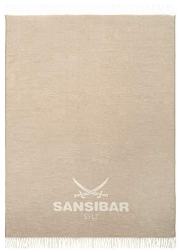 Sansibar Wohndecke mit Fransen Jacquard Scotch Decke Tagesdecke Überwurf 150x200 cm (ca.150x200 cm, Beige/Weiß)