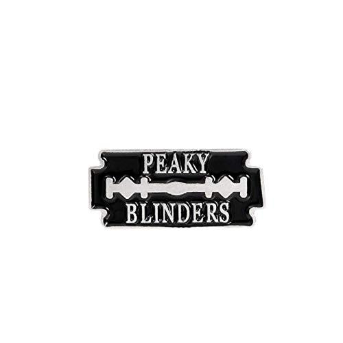 Broche créative en émail noir - Motif : Peaky Blinders - Biographie - Broche en alliage - Pour vêtements, sacs, accessoires