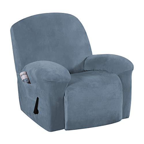 BellaHills Funda de Terciopelo para sofá reclinable Funda de Felpa para sofá sin Tirantes Protector de Muebles para sofá, Funda de Licra Alta/Funda para salón (Azul Piedra, reclinable)
