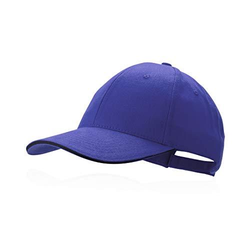 Makito Gorra azul béisbol padel golf gorra 6 paneles 100% algodón peinado cierre ajustable gorra unisex