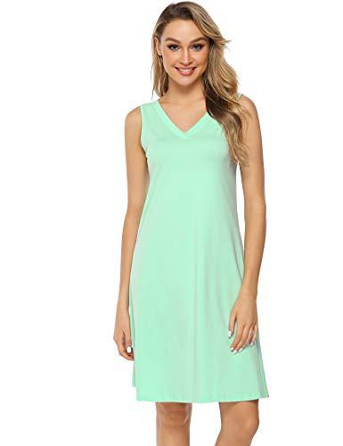 Hawiton Damen Nachthemd Kurz Sommerkleid Strandkleid A Linie Kleider Ärmlos Nachtwäsche Sleepshirt aus Baumwolle Hellblau XL