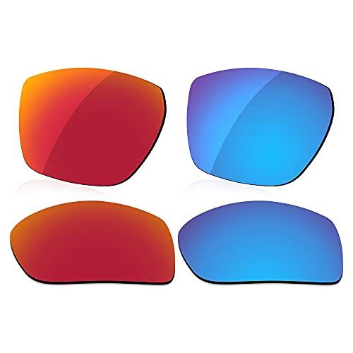 LenzReborn Reemplazo de lente polarizada para Costa Del Mar Diego 06S9034 Sunglass - Más opciones, Rojo fuego + azul hielo., Talla única