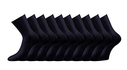 10 Paar Arztsocken, Schwesternsocken, Berufsocken aus Bio Baumwolle ohne Gummidruck m. zusätzlicher Garantie (Schwarz, 43/46)