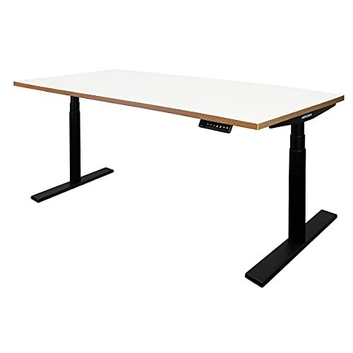 Novigami Schreibtisch elektrisch höhenverstellbar Josi   BxT 1600 x 800 mm   Gestell Schwarz   Weiß-Multiplex   Tischgestell Stehtisch Bürotisch Tischplatte