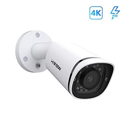 H.VIEW 4K PoE IP Kamera 8MP Überwachungskamera (3840x2160P) mit Mikrofon für Außen/Innen IP67 Wetterfest Onvif Netzwerk Sicherheitskamera IR Nchtsicht/Bewegungserkennung