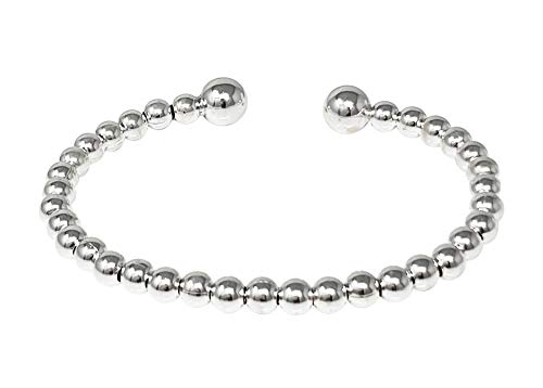 TreasureBay Womens 5mm 925 Sterling Zilver Kralen Torque Armband Bangle