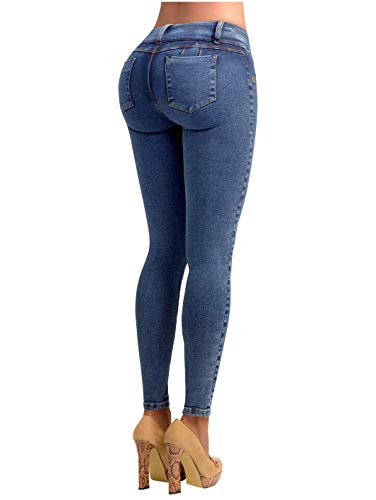 Lowla JE217988 Colombian Pants Butt-Lifting Padded Pre-Washed Skinny Jeans Pantalones Colombianos Levanta Cola de Mujer Blue 10