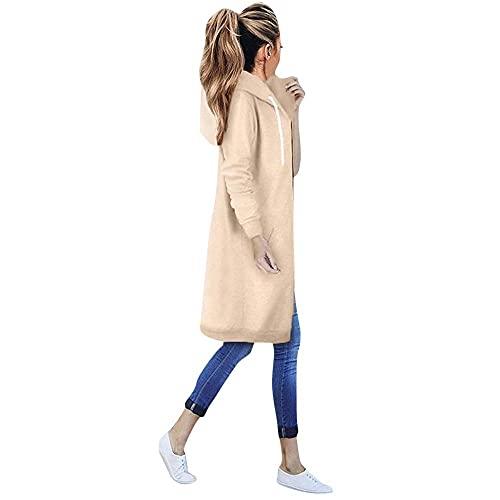 Felpa da donna con cappuccio, a maniche lunghe, con cappuccio, per autunno e inverno, con calda imbottitura, giacca lunga e casual, per le mezze stagioni, C-kaki., XL