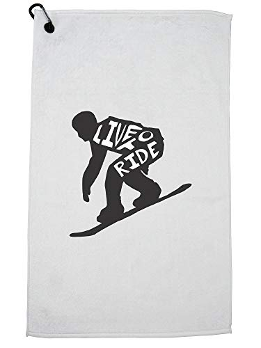 Hollywood Thread Trendy Snowboard Live to Ride Silhouette Skiën Golf Handdoek met Karabijnhaak Clip