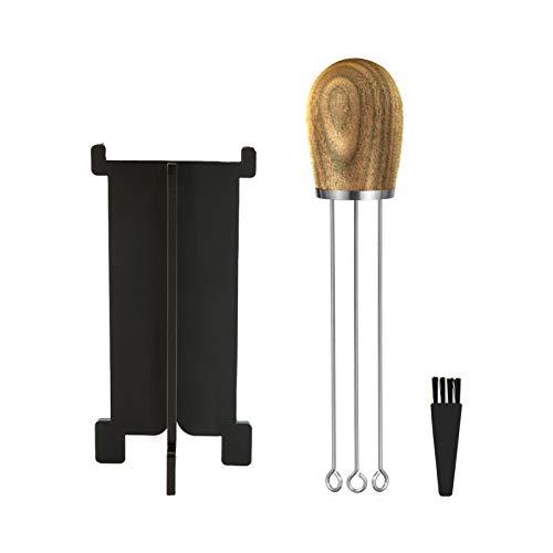 WFZ17 Kaffee-Rührstäbchen-Set, glatt polierter Holzgriff, Nadel-Typ-Verteilungswerkzeuge, Schneebesen Mixer mit Bürstenhalterung für Espresso Barista Tamper Ash-A