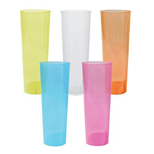 TELEVASO - 50 Unidades - Vaso Tubo 330 ml Reutilizable Ligero - Polipropileno (PP) - Colores Surtidos - Vaso ecológico Libre de BPA, Ideal para Cerveza, cubatas, Agua