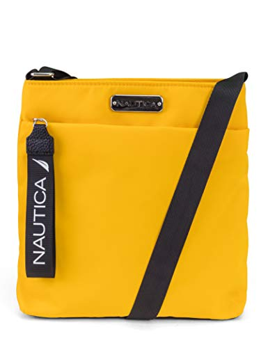 Nautica Diver Nylon Small Womens Crossbody Bag Purse with Adjustable Shoulder Strap, Sunny (Yellow)