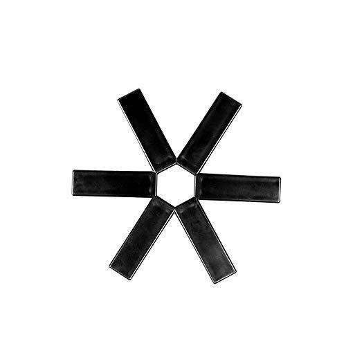 Cocolook Satz von 6 hitzebeständigen flammhemmenden Topfmatten aus ABS Kreative hitzebeständige Isoliermatten Tischsets Kitchen Folding Anti-Hot Pot Pot Mat Tischsets, schwarz