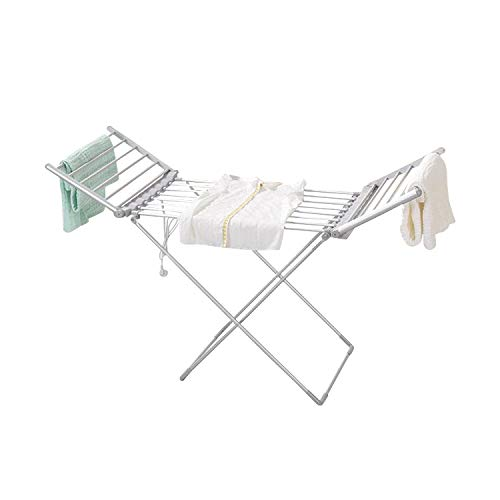 FEELING MALL Metal Portable Electrical Cloth Dry Rack Electric Heated Clothes Dryer for Laundry Air-Drying Rack Foldable Indoor/Outdoor Clothes Laundry Hanger, Rust-Proof, Space Saving Storage