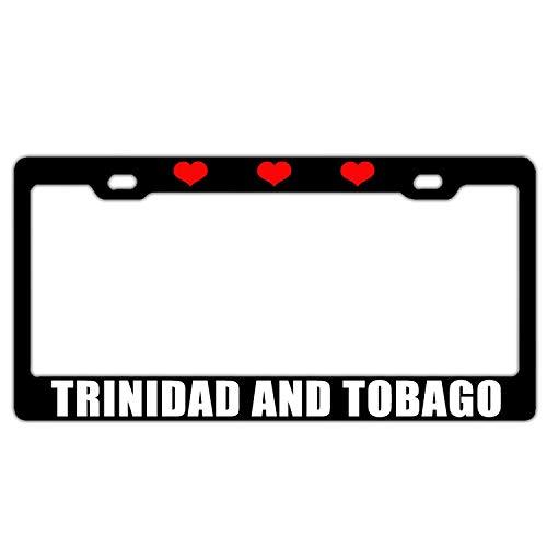 Targa Telaio da Donna/Ragazza Humor Auto licenze Covers Targa Tag Alluminio Telaio in Metallo a 2Fori Viti, I Love Heart Trinidad And Tobago Black
