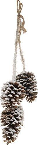 Juego de 3 piña de abeto Colgante Deco Navidades Blanco Nevado -54cm-Natural Navidad guirnalda