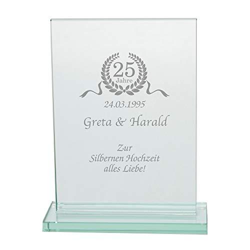 4youDesign Personalisierter Glaspokal • Silberne Hochzeit • Hochzeitstag   Geschenkidee Hochzeitsgeschenk für Sie Ihn Mann Frau 25 Jahre (Silberhochzeit)