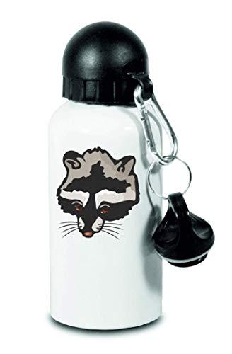 Druckerlebnis24 Trinkflasche - Waschbär Kopf Wald Kleintieren - Für Kinder, Schule, Sport, Fitness - Schlanke Wasserflasche aus Aluminium
