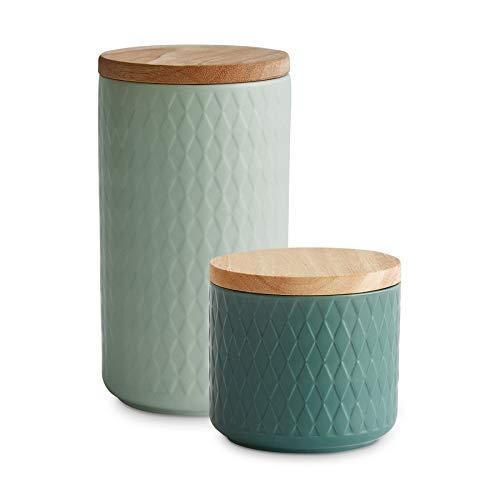 Keramik Vorratsdosen 2-tlg. Set mit Holzdeckel Mint, Luftdichter Kautschukholz-Deckel, Aufbewahrungsdosen, Frischhaltedosen - Hellgrün, Dunkelgrün