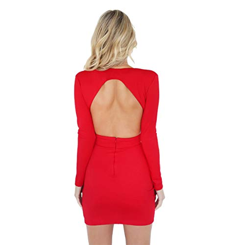 Vestido Ajustado para Mujer Mangas Largas Vestido Moderno Cuello V Sin Espalda Color Sólido Vestido Estilo Lápiz para Fiesta Club (Rojo, L)
