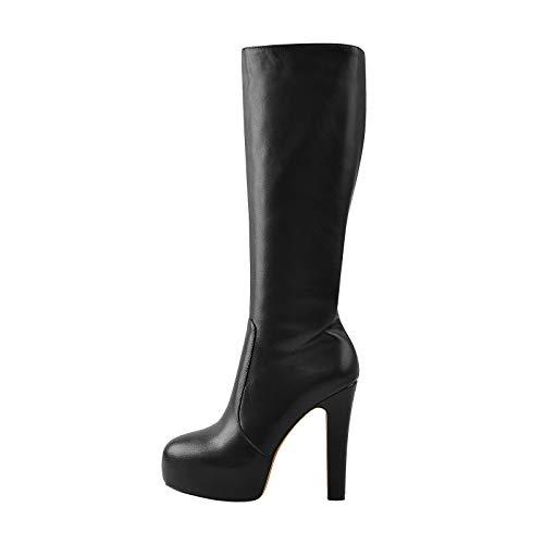 Only maker Stretch Platform Knee High Boots Block Heeled Booties Zip Up Boots for Women Men Black Size 2