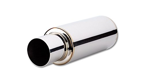 Vibrant Performance Power 1057 Muffler with tip, TPV series, 304 Stainless Steel, Mirror Polished, 2.50 in. Inlet, 4.00 in. Round Outlet, Straight Cut tip, 6.25 in. diameter Round Muffler, 23.00 in. overall length, each