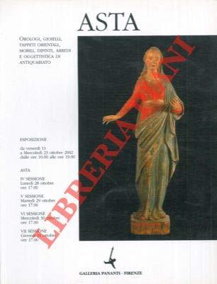 Asta orologi, gioielli, tappeti orientali, mobili, dipinti, arredi e oggettistica di antiquariato. 23/31 Ottobre 2002.